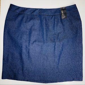 Lane Bryant dark blue denim pencil skirt SZ 22